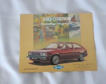 1982 Chevrolet Citation Sales Brochure Catalog