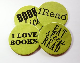 Book Club Coasters, Drink Coasters, Coasters, Hostess Gift, Tableware, Barware, Book Club, Green Coasters, Eat Sleep Read, iRead (5119)