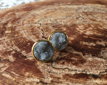 grey faux druzy earrings