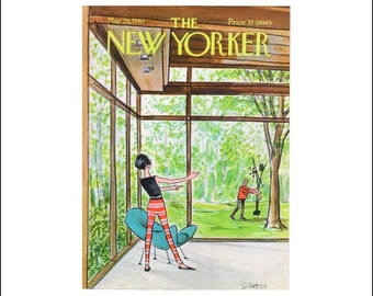 """Vintage The New Yorker Magazine Cover Poster Print Art, Saxon, 1967 Matted to 11"""" x 14"""", Item 002, Decorating"""