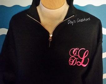Monogram Quarter zip Sweatshirt - monogrammed sweatshirt - Ladies fitted zip monogram sweatshirt - quarter zip pullover - Monogram shirt