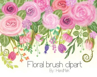 Floral brush set Clipart,greenery leaf clipart instant Download PNG file - 300 dpi.