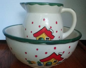 Rare Vintage Mary Engelbreit Pitcher and Bowl