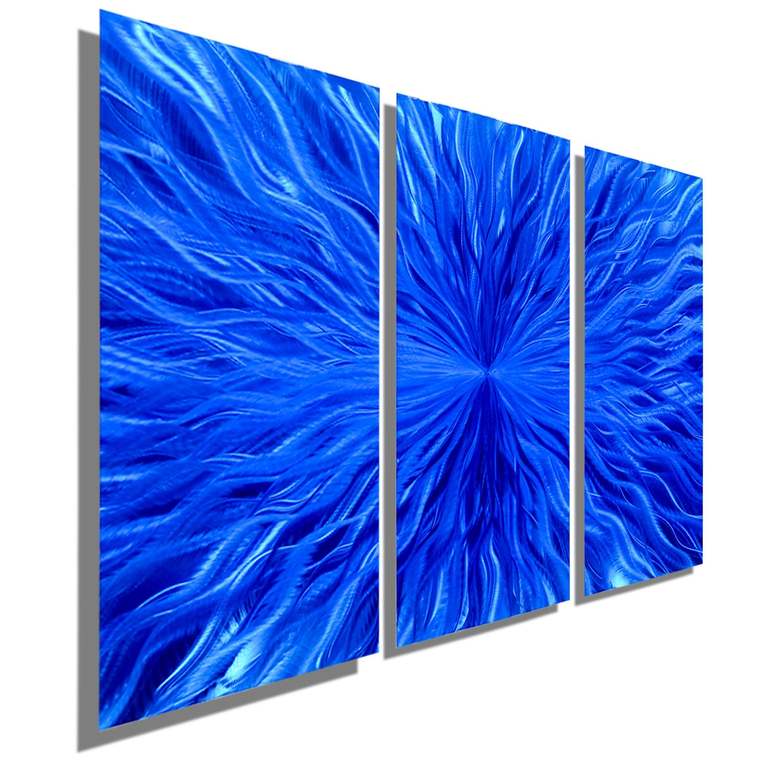Blue Metal Wall Art Enchanting Multi Panel Contemporary Metal Wall Decor In Blue Modern Inspiration