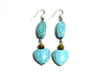 Turquoise and Tiger Eye Stone Earrings, Women, Teen, Heart Shape, Ready To Ship,