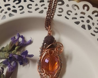 Wire Wrapped//Diffuser//Pendant//Rutilated Glass