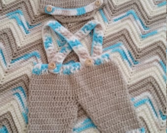 Crocheted Chevron Baby Boy Afghan Set