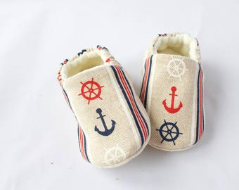 linen look cotton nautical moccs