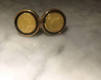 Vintage Cuff Links Gold tone Art Deco Cream and Black
