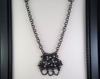 Black Metal Chain Necklace with Black Metal Filigree Pendant with Clear AB Swarovski Crystals and Black Chain Dangles N60