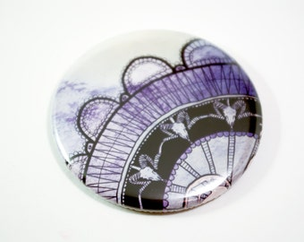 Pocket Mirror purple lace- hand drawn intricate animal ram skull design