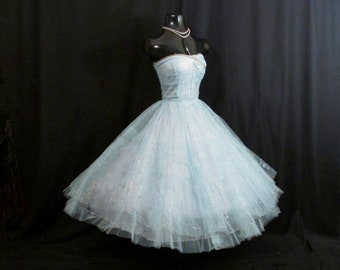 Vintage 1950's 50s STRAPLESS Bombshell Baby Blue Metallic Gold Silver Painted Tulle Party Prom WEDDING Dress Gown