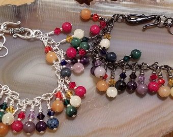 Rainbow gemstone and Swarovski crystal seven colors adjustable cha cha bracelets in silver and gunmetal tones