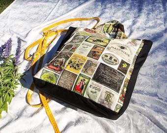 Olive print shopping bag