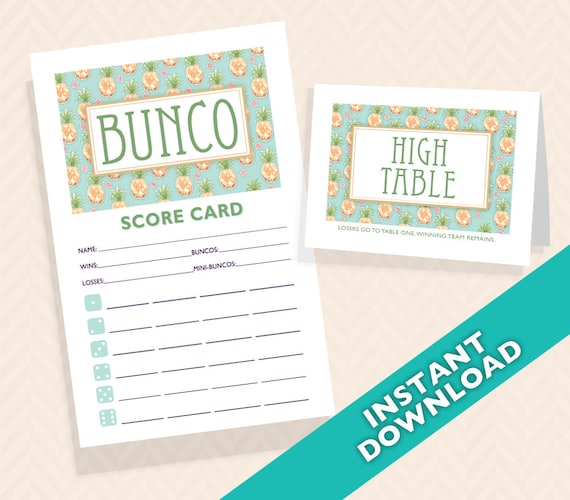 Pineapple bunco scorecard and table card set designer series pineapple bunco scorecard and table card set designer series pina colada aka bunko score card score sheet stopboris Images
