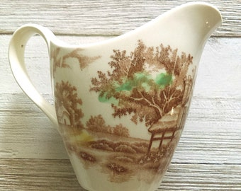 Vintage Transferware Creamer/ World Wide WW English Cottage/ Brown, Multicolored/ Made in Japan/