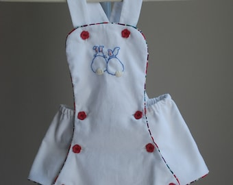 Little Bunnies Baby Girl's Embroidered Playsuit