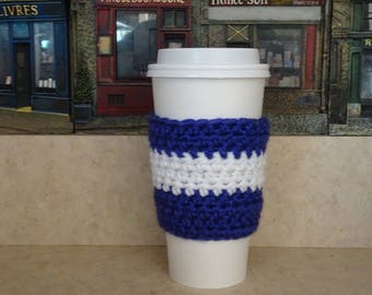 Purple and White Cup Sleeve, Crochet Cup Sleeve, Crochet Cup Cozy, Cup Cozy, Reusable Cup Sleeve, Coffee Lover Gift, Tea Cozy,