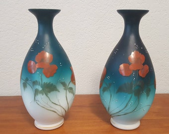 Pair of Antique Handpainted Satin Glass Vases