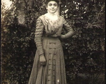 Edwardian Elegant French woman Antique Rppc real photo Photograph Post Card