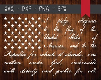Pledge of Allegiance American Flag Design Cut File-svg-eps-png-dxf