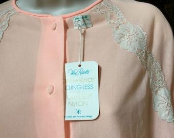 SALE! NWT Vintage Van Raalte Robe Peach Crepessence Clingless RARE Small 1960's Lingerie