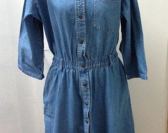 Vintage Denim 1980's Ideas Button Through A-Line Maxi Dress Size EUR / US Large