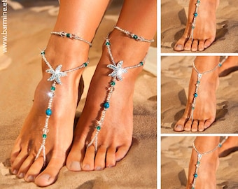 Wedding party set Rhinestone starfish barefoot sandals Something Blue Bride and bridesmaid feet jewelry Flower girl Made of honor