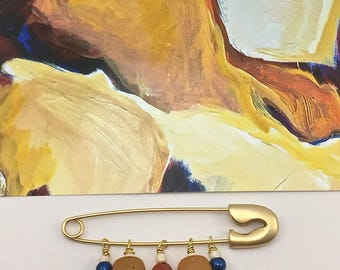 Abstract Inspired Beaded Large Safety Pin with Vintage Bead