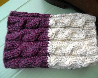 2 in 1 Boot Cuffs - EGGPLANT tweed and IVORY tweed - Hand knit 2 ways to wear boot cuffs Cable knit Boot toppers Leg warmers