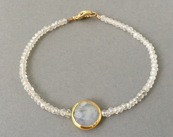 Moonstone Disc Beaded Gold Bracelet