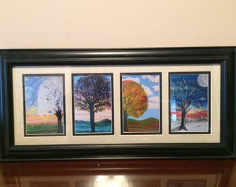 Four Season Framed Prints of original artist paintings.   Artwork.