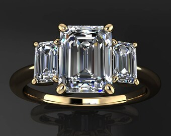 kennedy ring - 1.75 carat emerald cut NEO moissanite engagement ring,