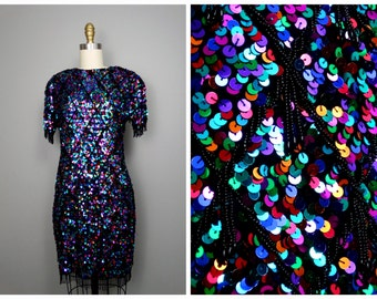 Multicolored All Sequin Dress // Rainbow Embellished Fringe Beaded Sequined Party Dress Size 6