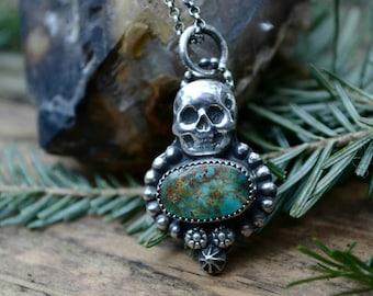 "Handmade artisan Mini Skull Keeper pilot mountain turquoise southwestern pendant with long 30"" chain"