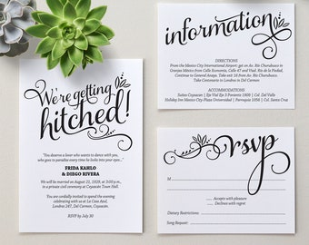 Casual Calligraphy / Wedding Invitation Template Kit / Instant Download / Digital Download