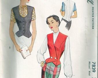 """Vintage 1949 McCall 7839 Misses Vest Sewing Pattern Size 20 Bust 38"""" UNCUT"""