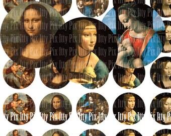 Leonardo da Vinci digital collage sheet - 1 inch circle digital collage - Instant Download