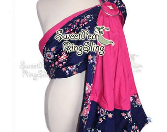 Baby Ring Sling SweetPea Ring Sling Made in the USA  Infant Carrier Wrap Reversible Babywearing  Butler Flowers Purple Pink Custom Pocket