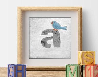 Nursery Letters, Alphabet Art, ABC Letters, Nursery Decor, Wall Letters, Cute Bird Print, Nursery Prints to Frame, Initial Letters