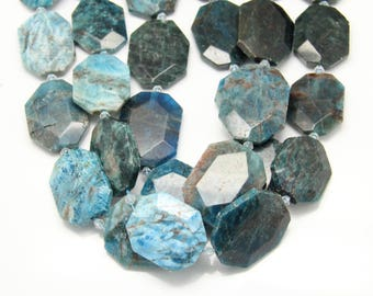 Natural Blue Apatite Octangle Shape Loose Beads,Faceted Smooth Large Size Drilled Gemstone Slab Beads Necklace Making