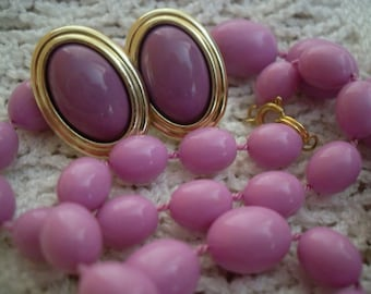 Lilac 2 piece set. Necklace and clip on earrings.