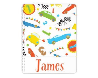 Personalized notebook in race car theme, glossy spiral notebook, custom notebook, school notebook, back to school supplies