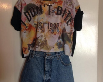 Cute cat crop top grunge festival seag hipster trash
