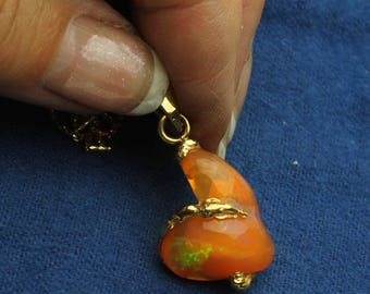 Magdalena Fire Opal Necklace, Orange, Neon Green, Purple, Natural Opal 14KT Yellow Gold Pendant & Custom Link Chain