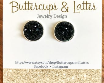 Black Druzy Stud Earrings 12mm