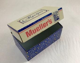 Metal Recipe Box 3 x 5 size Mueller's noodles vintage recipes cooking grandmother kitsch cookbook