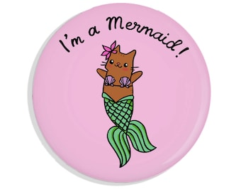 Cute Pin Back Button Mermaid Cat Merkitty I'm A Mermaid Pin Badge Pin Game Flair Cute Cat Mirror Pink