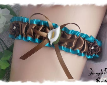 Wedding garter model Alvina choco/turquoise with arum