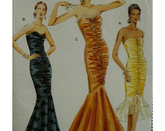 Mermaid Evening Gown, Fitted, Strapless, Heart Shaped Bodice, Rouched Front Seam, Long/Short, Boned, Lined, Vogue No.8190 UNCUT Size 8 10 12